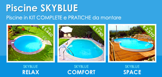 Piscine interrate in kit fai da te in lamiera d'acciaio Skyblue